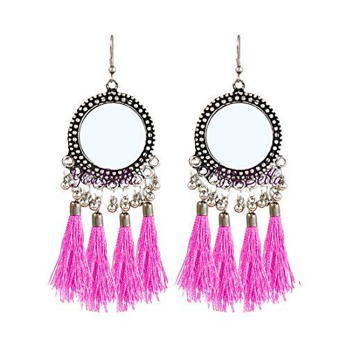 YouBella Stylish Party Wear Jewellery Silver Plated Drop Earrings for Women (Multi-Colour)(YBEAR_32200)