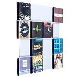 Farbige Design CD-Wand / CD Wandregal / CD Wandhalter / CD Halter - CD-Wall Square 4x4 Farbe: weißaluminium für 16CDs zur sichtbaren Präsentation Ihrer Lieblings Cover an der Wand