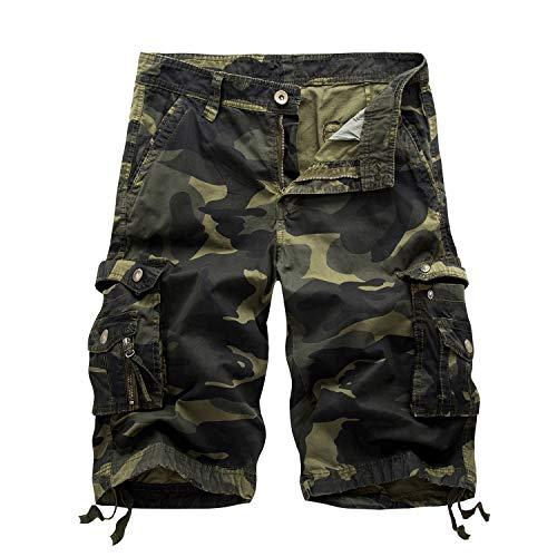 7 Pocket-cargo-shorts (SUKUTU Männer Cargo Shorts Loose Fit Sommer Lässige Multi Taschen Shorts Baumwolle Gehen Kampf Camouflage Shorts Strandhose)