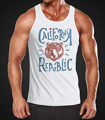 Herren Tank Top California Republic Bär Grizzlybär Kalifornien Watercolor Muskelshirt Neverless® Weiß