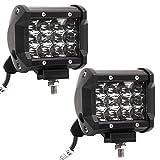 LARS360® 36W LED Auto Arbeitslicht Scheinwerfer Spot Flood Combo Schwarz Wasserdicht für Offroad SUV ATV UTV Arbeitslampe Traktor Bagger LKW KFZ ( 2x36W Cree)