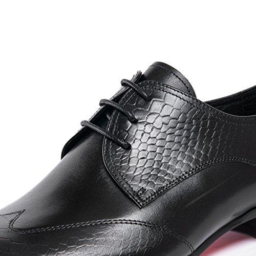 GRRONG Chaussures En Cuir Pour Hommes Dentelle Pointue Confortable Black