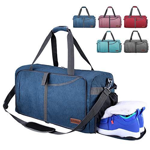 CANWAY 65L Große Reisetasche Sporttasche (Blau, 65L) (Falten Sie über Badeanzug)
