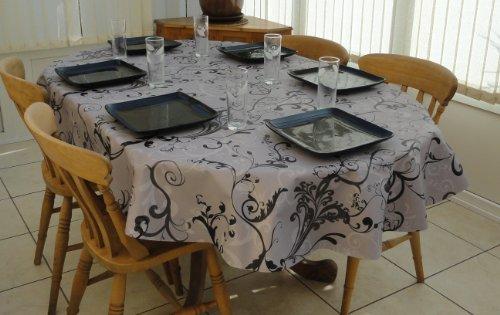 Nappe ovale 6 couverts en PVC/vinyle - Motif fleurs/gris 140 x 200 cm
