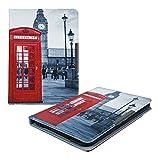 kwmobile Hülle für Tolino Vision 1/2/3/4 HD - Flipcover Case eReader Schutzhülle - Bookstyle Klapphülle Telefon Big Ben Design Rot Schwarz Weiß