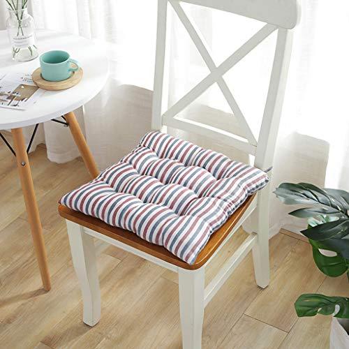 Gestreifte Polster (YYRZGW Moderne einfache weiche gestreifte verdicken Stuhl Kissen Indoor/Outdoor Garten terrasse Home küche büro Sofa sitzkissen-Blau rot)