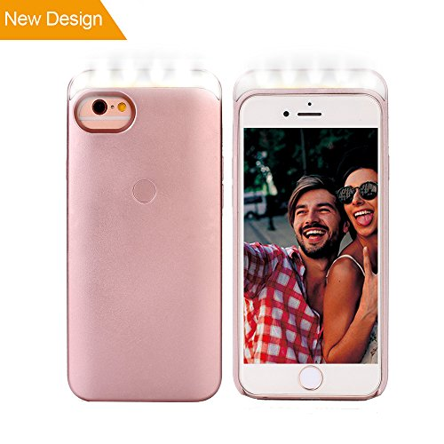 iPhone7 LED selfie Fall, WaterLuu LED beleuchtet Handy Schutzhülle Phone Case für iPhone 6/iPhone 6s/iPhone7(4.7inch), LED Light up Phone Case mit Soft Light & Smart Touch button für Great selfie &Make up (Rose Gold) Iphone Case Make-up
