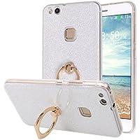 Huawei P10Lite Hülle Ring, Moon mood Weiche TPU Abdeckung + Glitzer Papier 2in1 Hybrid mit 360 Finger Griff Halter... preisvergleich bei billige-tabletten.eu