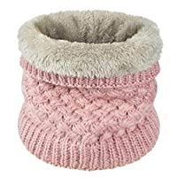 Yuson Girl Women knitted Snood Scarf Loop Infinity fur Neckerchief Lady Neck Warmer Wrap Scarves (Pink)(Size: One Size)