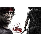 Rambo Sylvester Stallone Hollywood Actor Paper Print Print Poster On CANVAS PRINT 24X36 INCHES