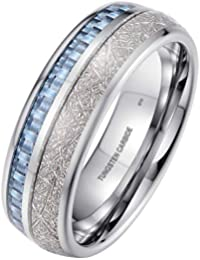 56bcbca00bb5 BestToHave-Mens Unisex Tungsten Band Ring with Blue Carbon Fibre    Meteorite Inlay-