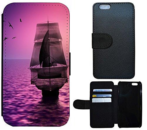Coque Flip Cover Housse Etui Case Pour, Tissu, 1244 Wolf Grau, Apple iPhone 4 / 4s 1245 Schiff Segelschiff Lila
