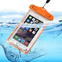 Aventus (Orange) Intex Aqua S7 Universal Durable Underwater Dry Bag, Touch Responsive Transparent Windows, Watertight Sealed System Pouch