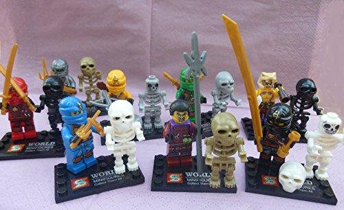 16 Stück Mini-Figuren 8 x Ninjas + 8 x Skelett mit viel Zubehör Schwertern und Standplatten!