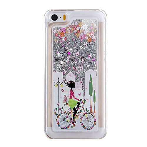 iPhone 5C Hülle,iPhone 5C Case,iPhone 5C Cove,3D Kreativ Muster Transparent Hard Case Cover Hülle Etui für iPhone 5C,EMAXELERS Cute Tier Cat Kaninchen Serie Bling Luxus Shiny Glitzer Treibsand Liquid  B Girl 7