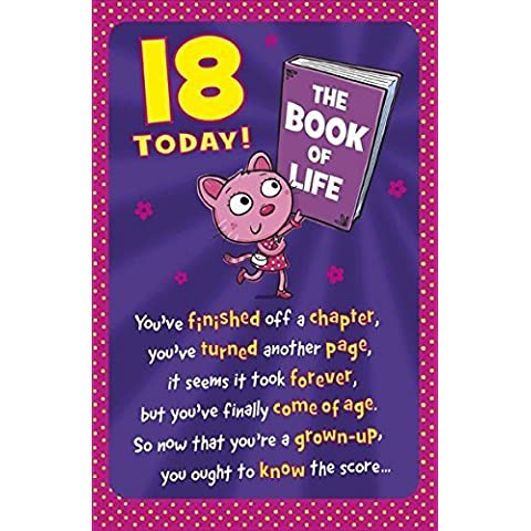 UK Greetings-Biglietto di auguri per compleanno 18 anni, colore: rosa, Cat & Book 20,95 cm x (8,25 13,33 (5,25 codice 407734--1 cm
