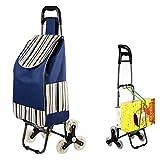 ZDYLM-Y Einkaufsroller klappbar Haltbarer Lebensmittelgeschäft-Gebrauchswagen mit Kristallrad Tri-Wheels, die Multi-Taschen für einfache Lagerung tragen, große Einkaufstrolley-Tasche