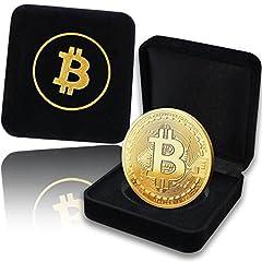 Idea Regalo - Moneta Fisica Bitcoin rivestita in Oro Puro 24 Carati. Un pregiato Cofanetto per un vero Pezzo da Collezione