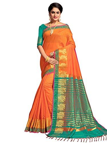 Kanchnar Women's Orange Color Cotton Silk Jacquard Saree-753S7511