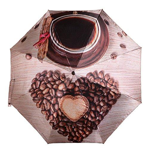 Automatik Offen Schließen Kreativ Kaffeebohnen Kompakt Falten Winddicht Wasserdicht Reise Regenschirm Leder Griff