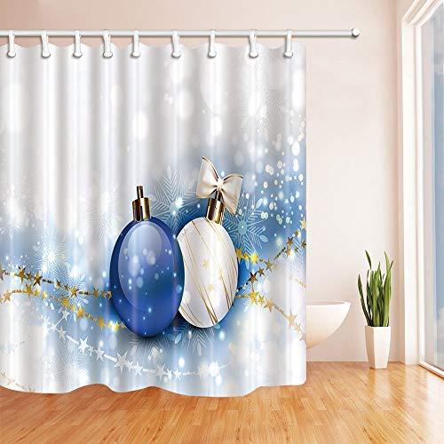 Buenn tende da doccia di natale per il bagno palle di natale blu e bianco con stelle dorate tessuto in poliestere tenda da doccia impermeabile tenda da doccia ganci inclusi 71x71in