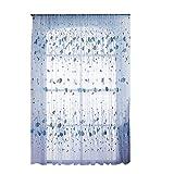 Amazingdeal365 Regentropfen Vorhang Flugfensterdeko Voile Gardinen Schal 2m *1 m Set für Tür Schlafzimmer Wohnzimmer Kinderzimmer Balkon Terasse Spielzimmer (Blau)