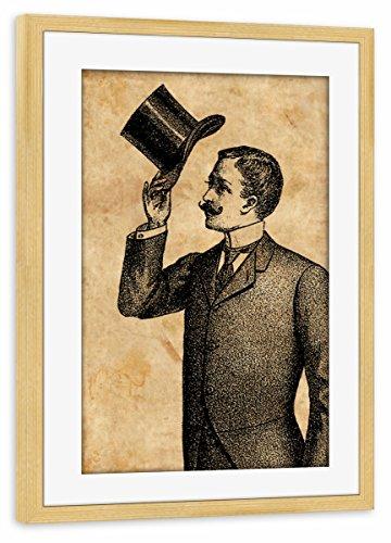 artboxONE Poster mit Rahmen Kiefer 75x50 cm Viktorianischer Gentleman von Artkuu - gerahmtes Poster -