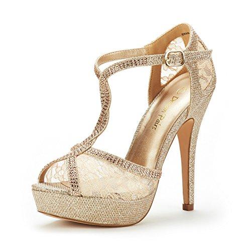 DREAM PAIRS Swan-16 Mujer Zapatos de Tacon Aguja Vestir Fiesta Boda Plataforma Sandalias Dorado 40.5...