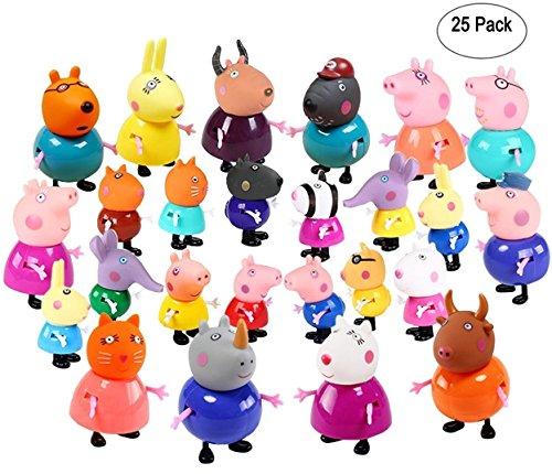 New brand 25 pcs/set cute peppa pig figures 25 cartoon heroes kids