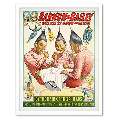 Strobridge Barnum Bailey Circus Aerialists Advert Art Print Framed Poster Wall Decor 12x16 inch Zirkus Werbung Wand Deko -