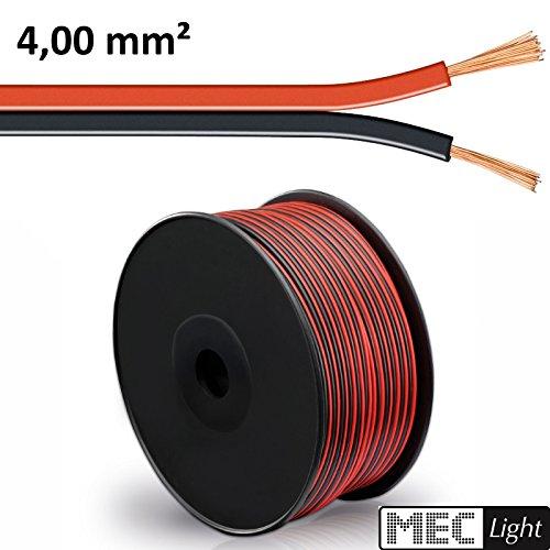 (0,95 €/m) 5–100 m Câble LED ZWILLING Toron 2 x 4 mm² rouge/noir 2 brins – Longueur Au Choix 50m Zwillingslitze 2x 4,00mm²