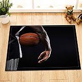 Tema de deportes,niño,baloncesto,negro,naranja/Decoración Alfombra de baño antideslizante lavable suave alfombra de ducha,40X60 CM