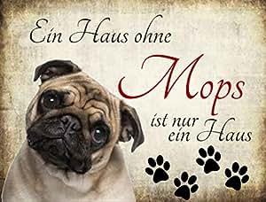 Creativ deluxe plaque métallique avec inscription en allemand'hundedekorations une maison sans chien 20 x 15 cm