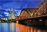 XXL echtes Glasbild, Hohenzollernbrücke und Dom Köln, Fineart Bild als Wanddeko Wandbild in Galerie Qualität auf echtem Sicherheitsglas fertig zum Aufhängen 90 x 60cm