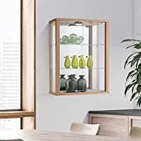 Wall Mounted Glass Display Cabinet with Lighting (Multiple Colours Available)