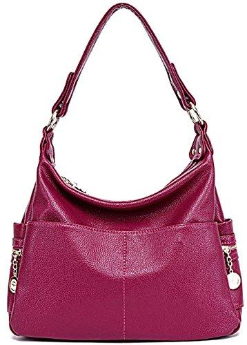 Rovanci Damen Vintage Handtasche Leder fertige Lederhaut Umhängetasche Schultertasche Shopper Taschen große Kapazität Shopper Tasche Blue Wine