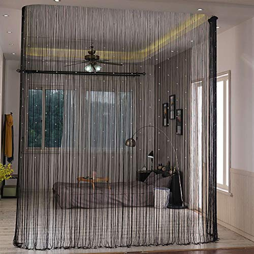 Lewondr Beaded String Curtain, Decorative Crystal Clear Beads Curtain Window Sheer Strip Blind Door Panel Fringe Room Divider for Doorway House Coffee 39x79 Inch(100x200 cm) - Black