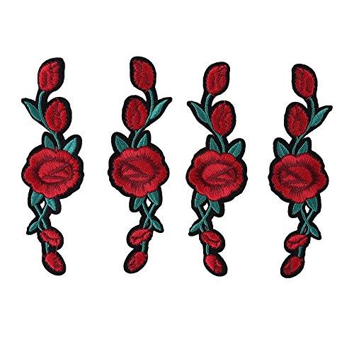 2 Paar Rose Flower Patch, Aufbügeln Stickerei Blume Applique Patch Aufnähen Patch für Handwerk DIY Kleid Kleidung Schuhe Dekoration (Blumen-rock 2 Stück)