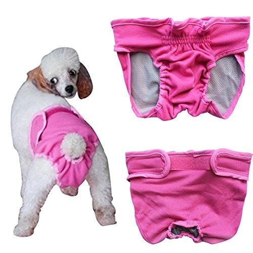 YiZYiF Hundeschutzhosen für Hunde Hündinnen Läufigkeit Unterhose Unterwäsche Hundehöschen XS-XL Schwarz & Blau Rosa M