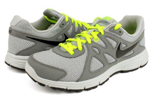 Nike Revolution 2 GS, Unisex - Kinder Laufschuhe Grau / Schwarz / Grün (Wolf Grey / Black-Cool Grey-Volt)