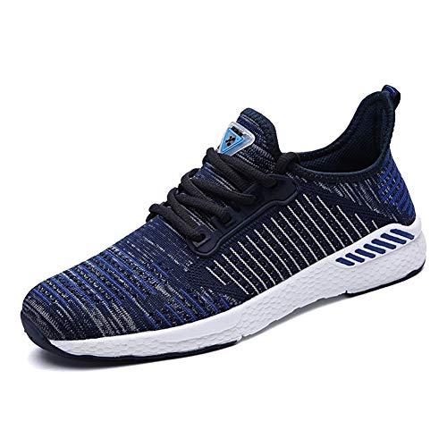 Decai Scarpe Running Sneakers Unisex Uomo Donna Scarpe da Ginnastica Mesh Leggero Scarpe da Corsa Sportive Outdoor Fitness Basse Interior Casual all'Aperto Blu 38 EU