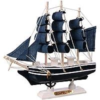 Maqueta Cutogain hecha a mano de barco de madera de estilo mediterráneo para decoración del hogar de estilo náutico y regalo, madera, M1623
