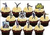 JPS 12 x Fortnite Dancing Dancers Mix - Fun Neuheit Geburtstag Premium aufstehen essbare Wafer Karte Cake Toppers Kuchen Dekoration