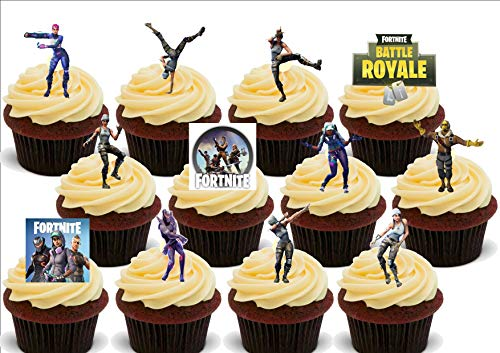 Fortnite Dancing Dancers Mix - 12 Edible Stand Up Premium Wafer Card Cake Toppers Decorations