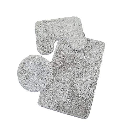 Fatchot 3-teiliges Badezimmer-Set, Teppich mit Konturmatte, WC-Deckelbezug, einfarbig, einfarbig, Flanell, grau, 19