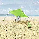Zelt 4 personen, Lovebay Sonnensegel Outdoor Strandmuschel uv Schutz, leicht 100% Lycra Sichtschutz Garten Vorzelte 210 x 210 cm für Camping, Wandern, Angeln, Strand, Picknick - grün