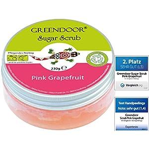 Greendoor Körperpeeling Sugar Body Scrub Pink Grapefruit, Zucker-Peeling ohne Mikroplastik, Natur Duschpeeling 230g, Naturkosmetik Körper Peeling anti cellulite, natürlicher Sauna-Zucker, Geschenke