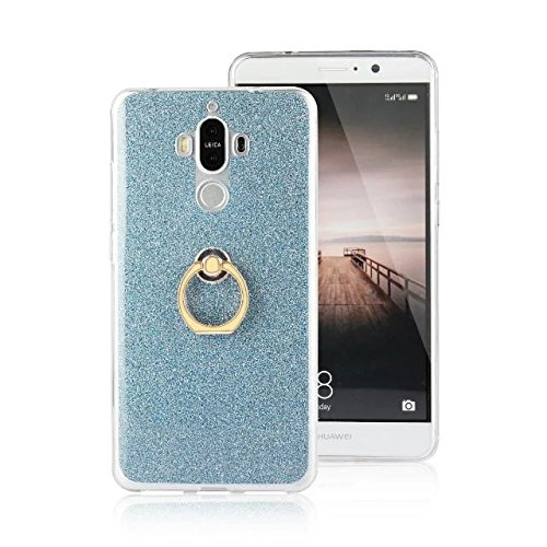 Luxus Bling Sparkle Style Case, Soft TPU [Silikon] Flexible Glitzer Rückentasche [Anti Scratch] mit Fingerring Stand für Huawei MATE 9 ( Color : Gold ) Blue