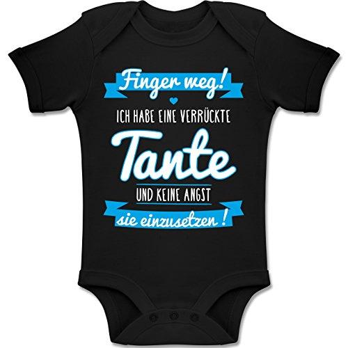 Shirtracer Sprüche Baby - Ich Habe eine Verrückte Tante Blau - 12-18 Monate - Schwarz - BZ10 - Baby Body Kurzarm Jungen Mädchen (20% 80% Viskose Polyester)