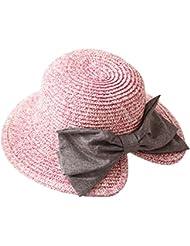 Leisial Sombrero del Pescador del Arco Gorro de Paja Playa Sombreros para el Sol Plegable Sombreros de Ocio al Aire Libre para Mujer